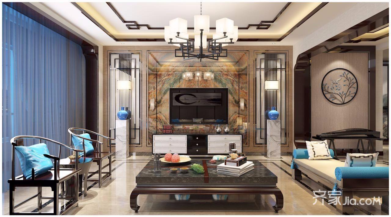 新中式风格四居电视背景墙装修效果图