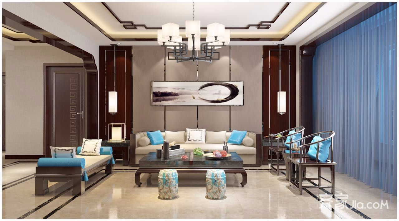 新中式风格四居沙发背景墙装修效果图