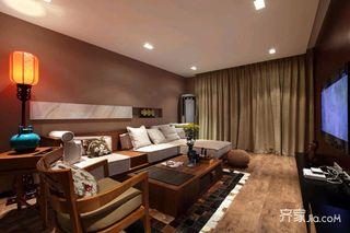 中式混搭三居沙发背景墙装修设计效果图