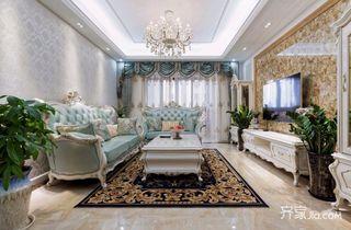 105㎡欧式风格三居装修客厅搭配图