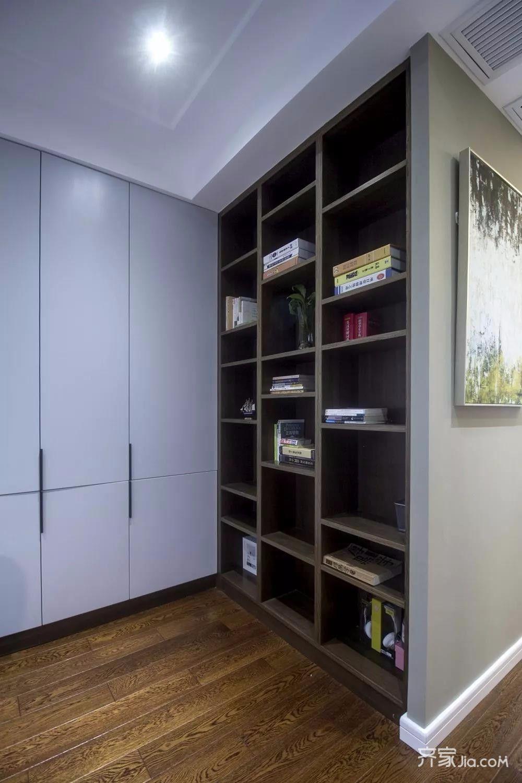 三居室现代简约风格装修书架设计图