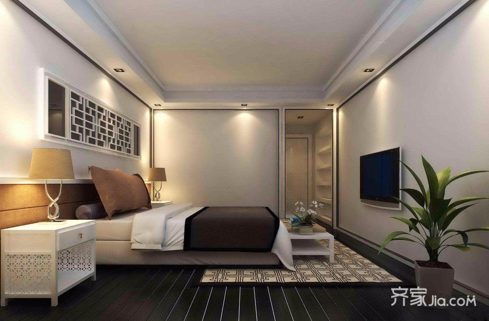 现代中式简约三居卧室装修效果图