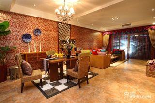 东南亚风格三居室客餐厅每日首存送20
