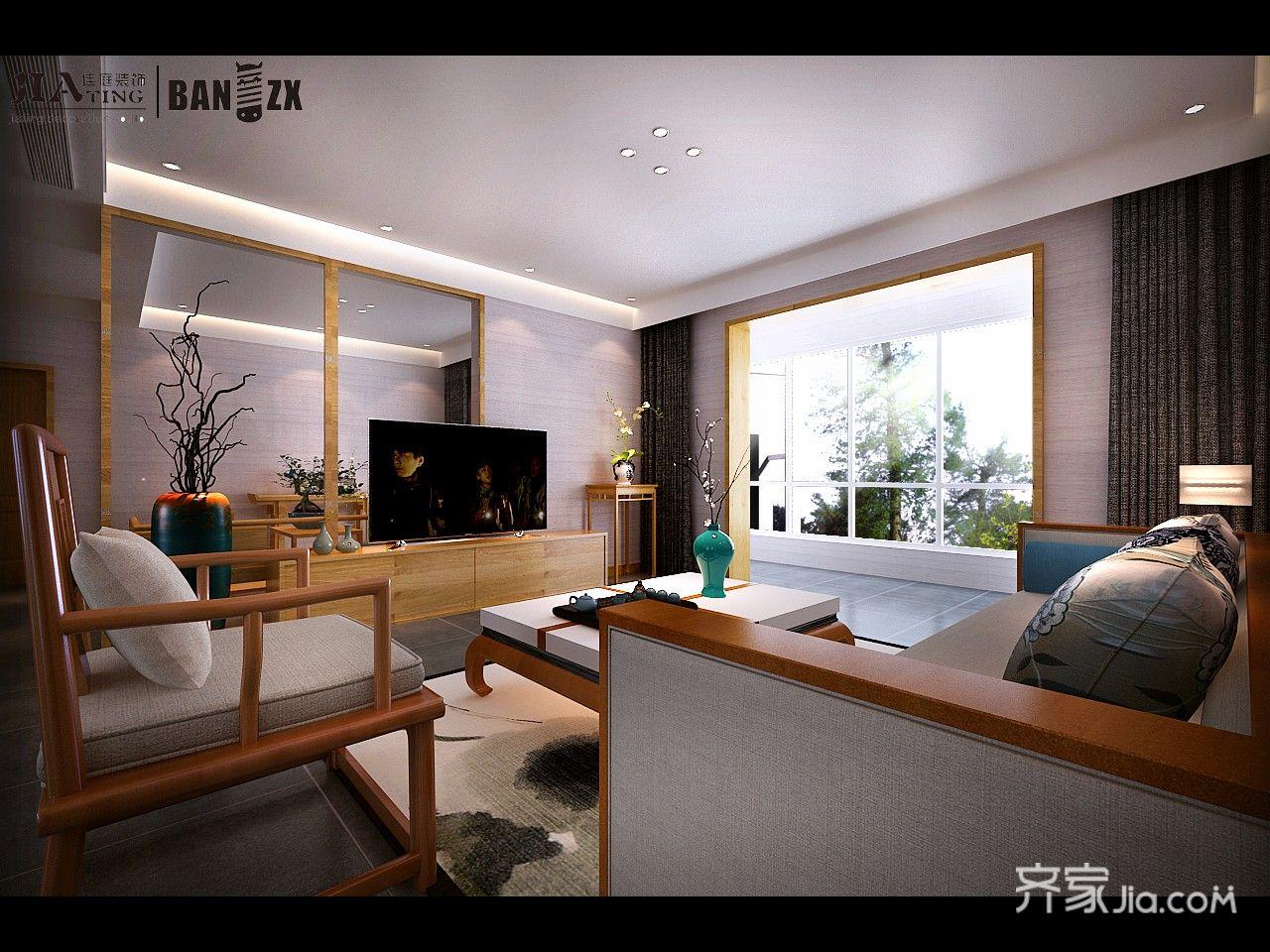 新中式风格大户型装修电视柜设计图