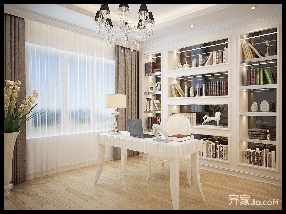 古典欧式别墅书房装修效果图