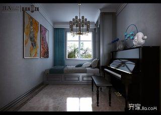 140㎡美式三居榻榻米卧室装修效果图