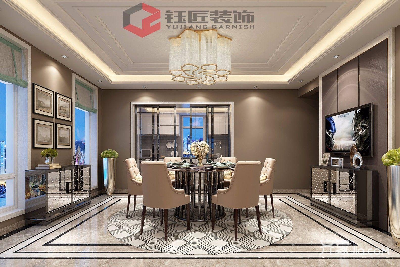 400平奢华风格别墅餐厅装修效果图