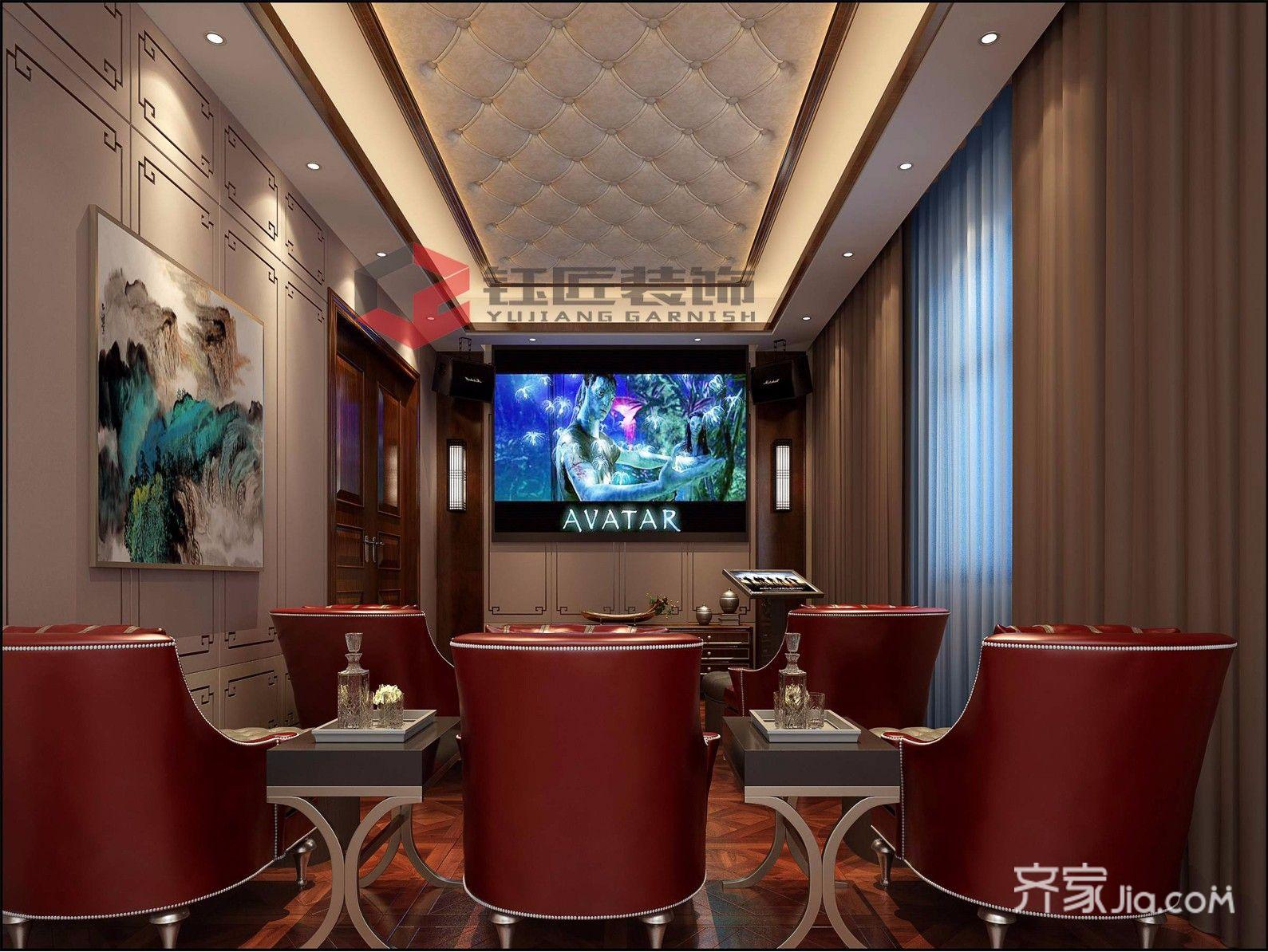 豪华新中式风格别墅影音室装修效果图