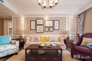 128平美式三居装修设计效果图