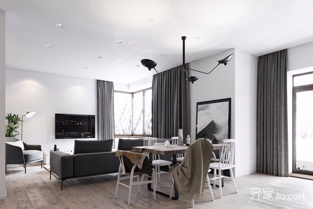 黑白灰简约风格三居客餐厅装修效果图