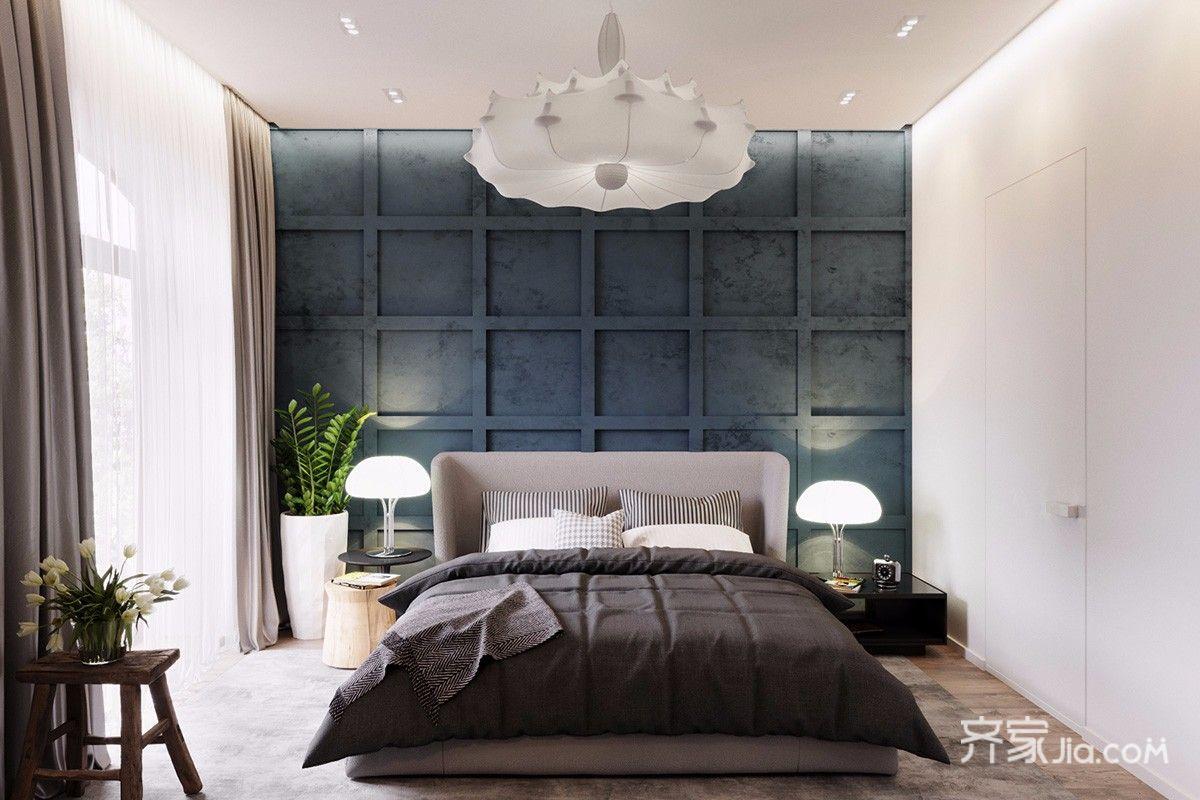 黑白灰简约风格三居卧室装修效果图