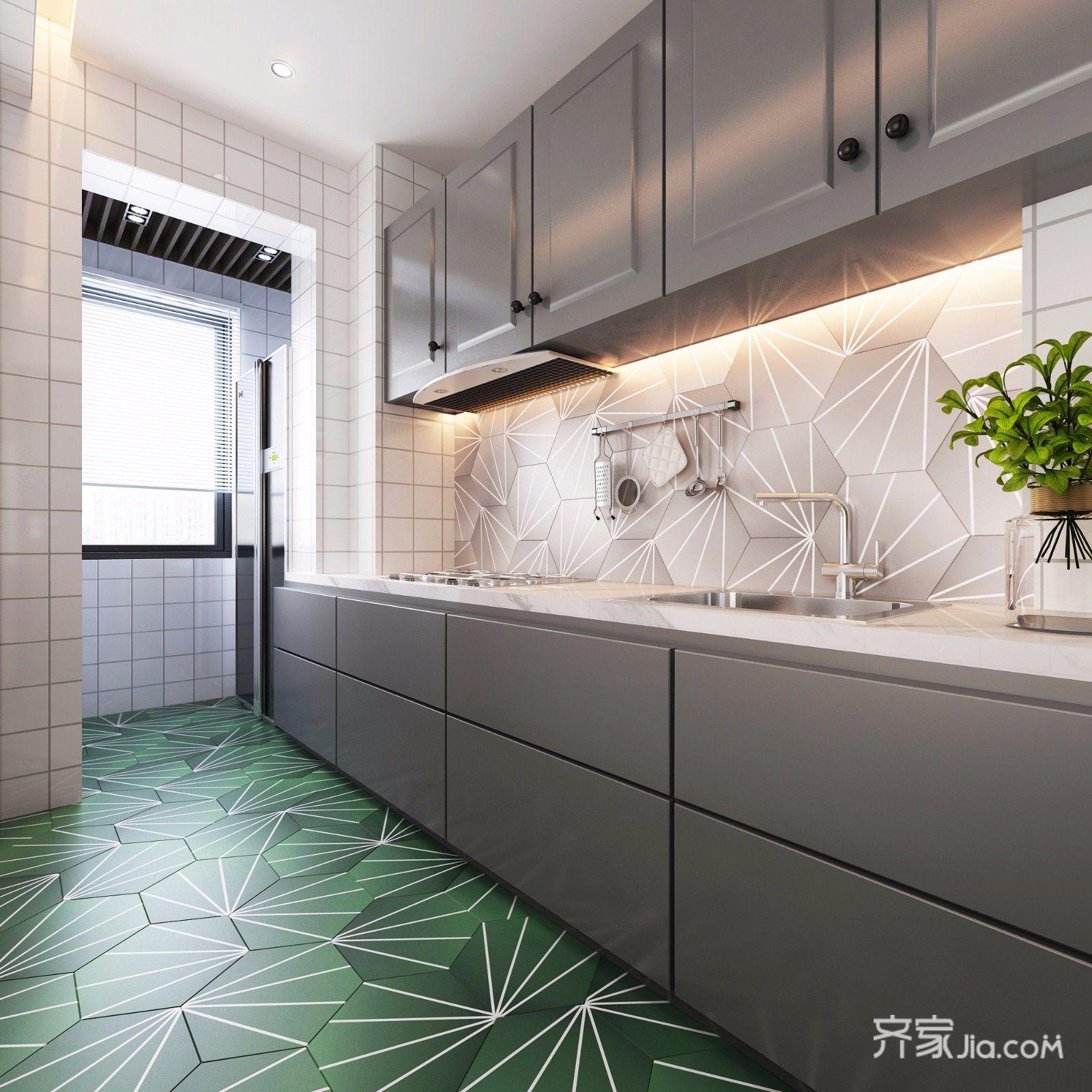 两居室现代简约风格厨房装修效果图