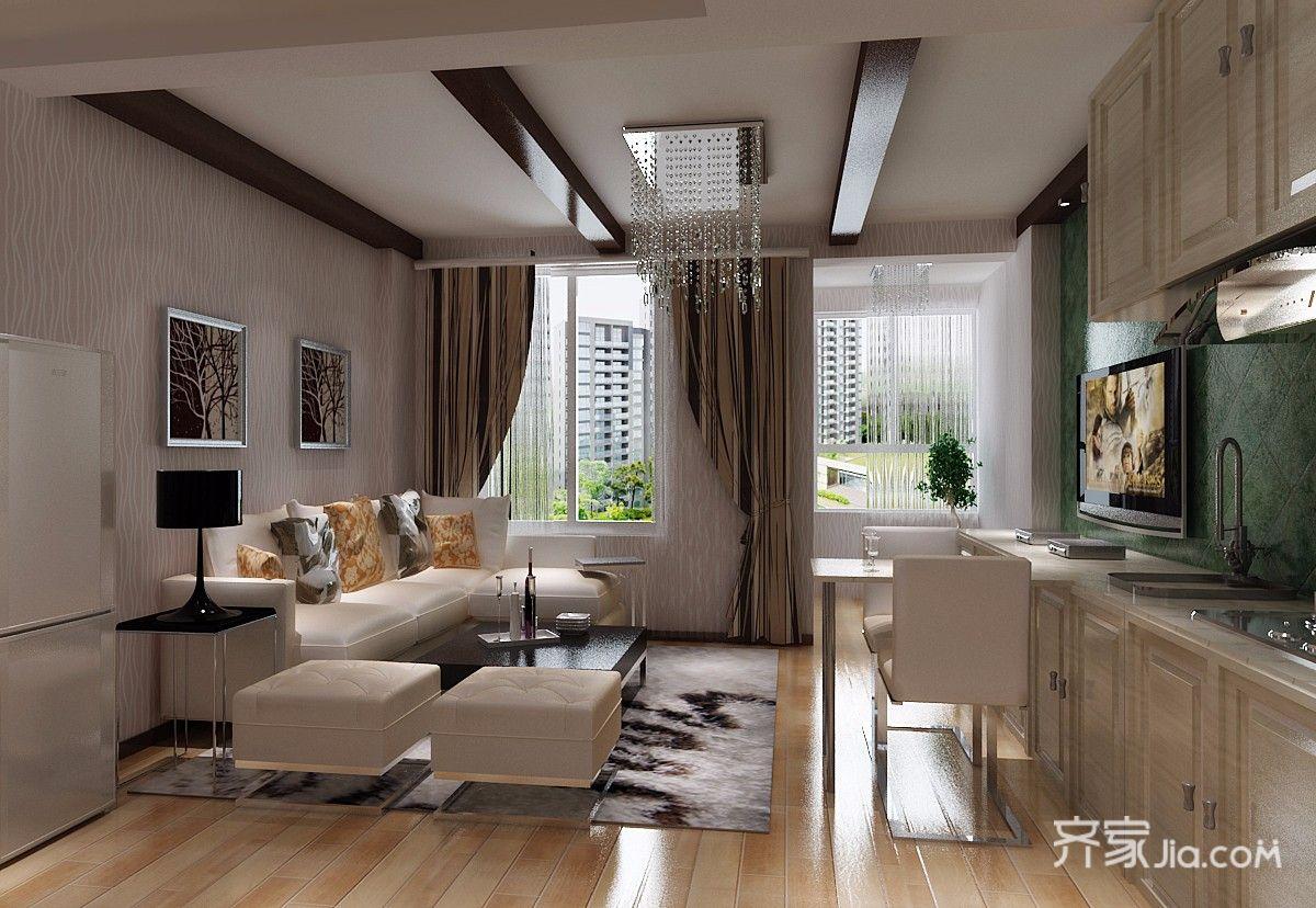 一居室简约风格复式装修客厅效果图