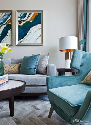 三居室混搭風格裝修沙發布置圖