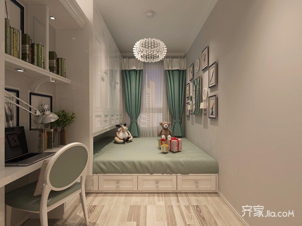 二居室现代北欧风格榻榻米卧室装修效果图
