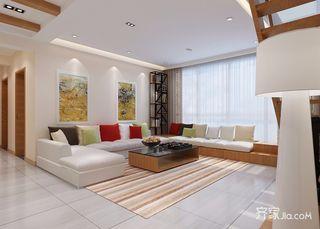 复式现代简约风格沙发背景墙装修效果图