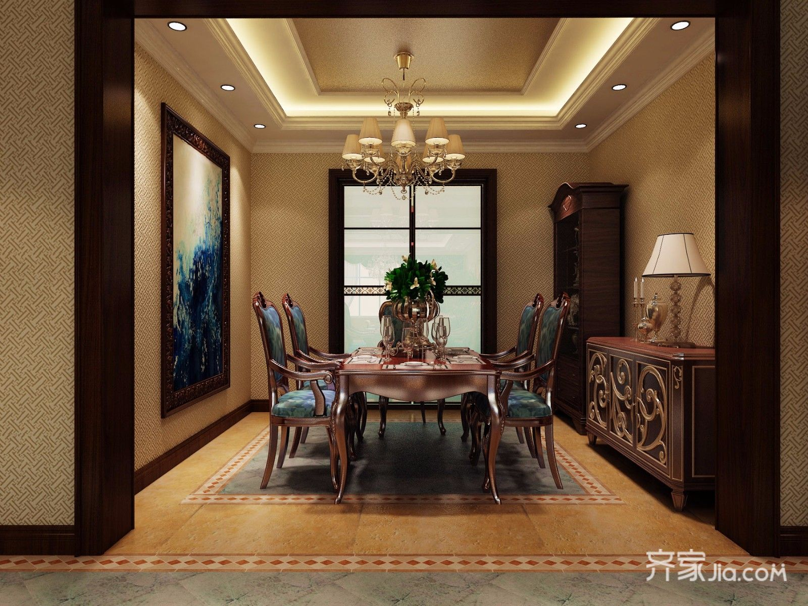 134平米欧式三居室餐厅装修效果图