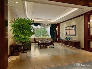 134平米欧式三居室客厅吊顶装修效果图