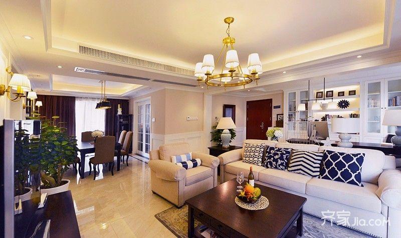 大户型美式客厅吊顶装修效果图