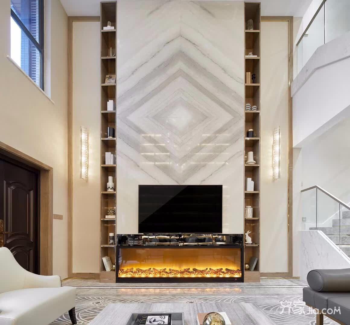 现代奢华复式别墅电视背景墙装修效果图
