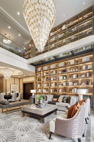 现代奢华复式别墅客厅装修效果图