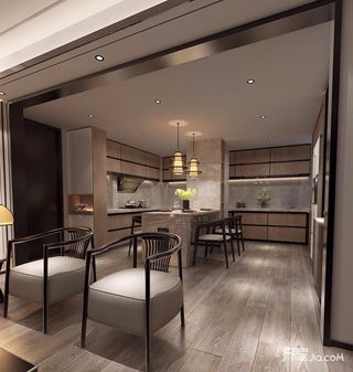 小户型新中式风格厨餐厅装修效果图