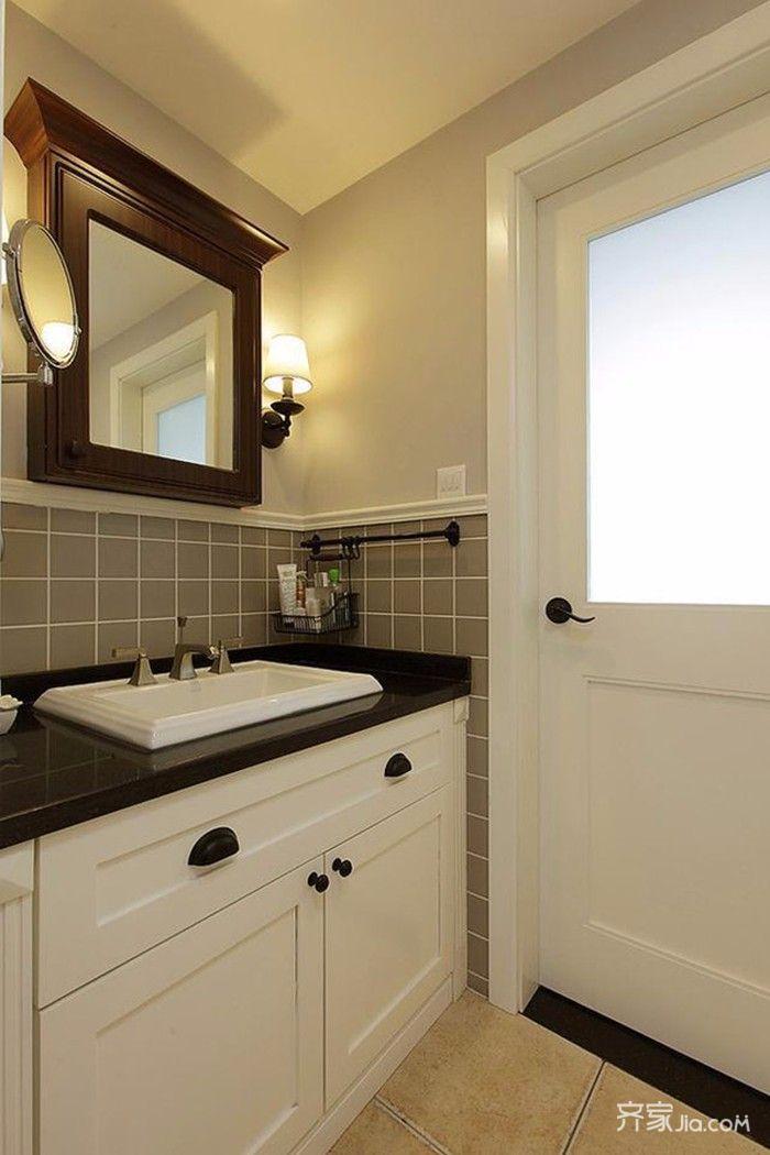 95㎡混搭风格三居装修卫生间搭配图