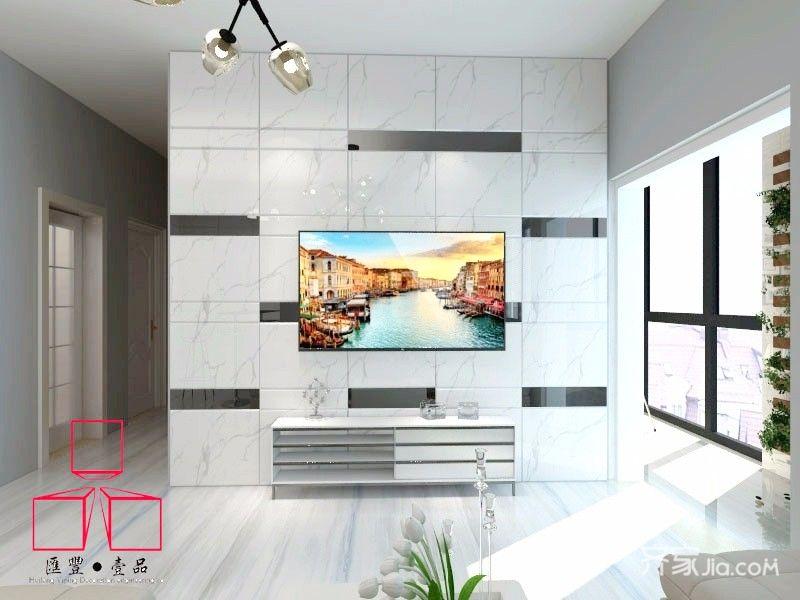 77平简约风格二居到电视背景墙装修效果图