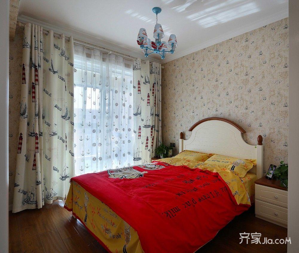 90平美式风格三居装修卧室搭配图