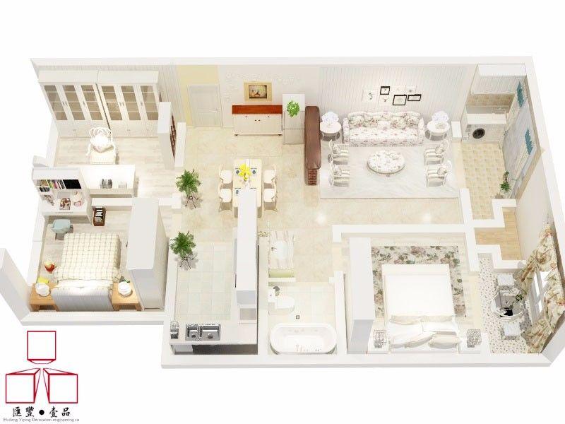 75平田园风格三居装修户型平面图