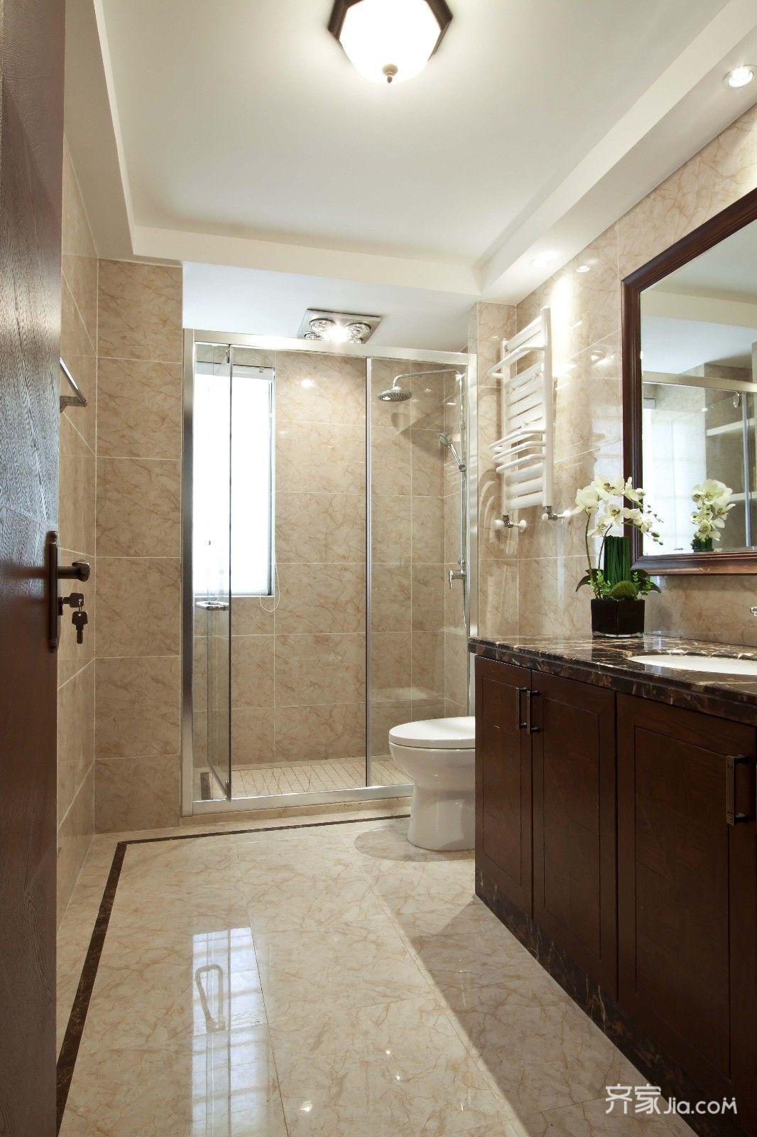 现代中式三居卫生间装修设计效果图