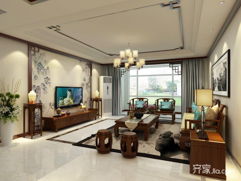 中式风格别墅客厅装修设计效果图