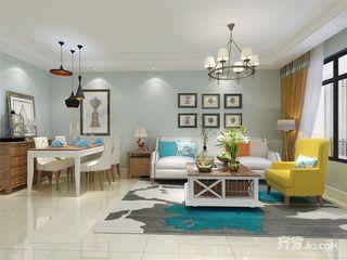 美式风格二居室沙发背景墙装修效果图