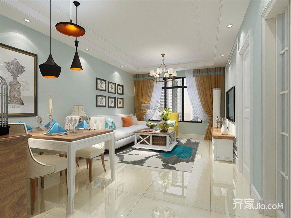 美式风格二居室客餐厅装修效果图