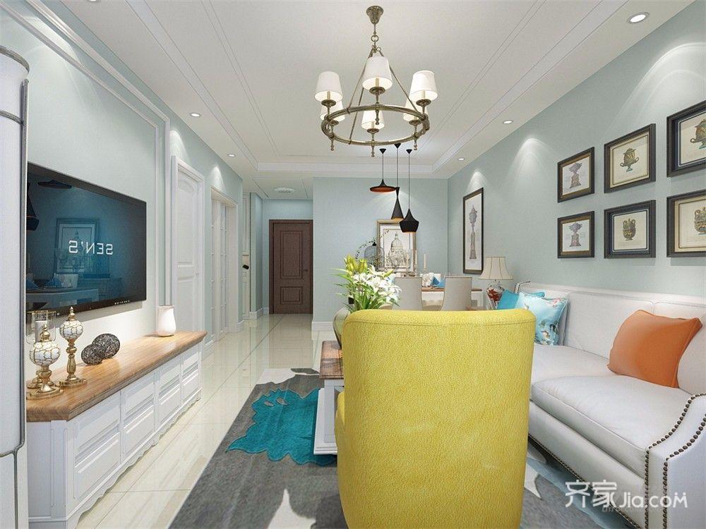 美式风格二居室电视背景墙装修效果图