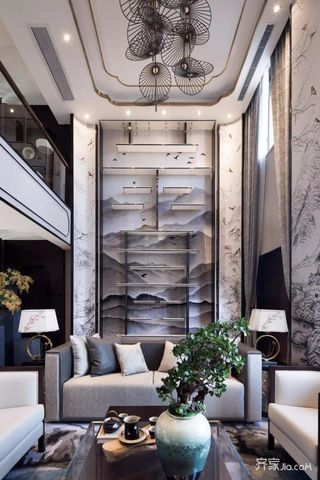 新中式复式别墅客厅装修设计效果图