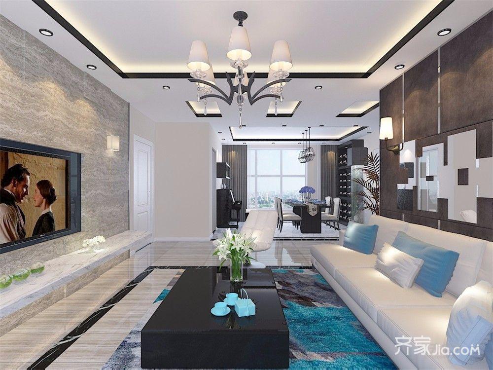 现代风格三居室客厅装修设计效果图