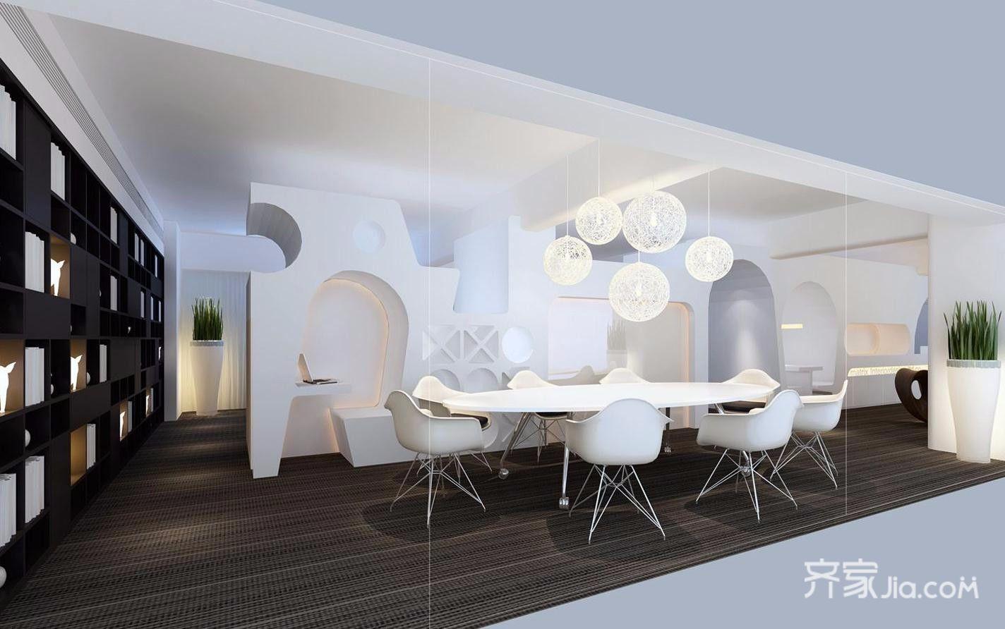黑白简约风格办公室会议区装修效果图
