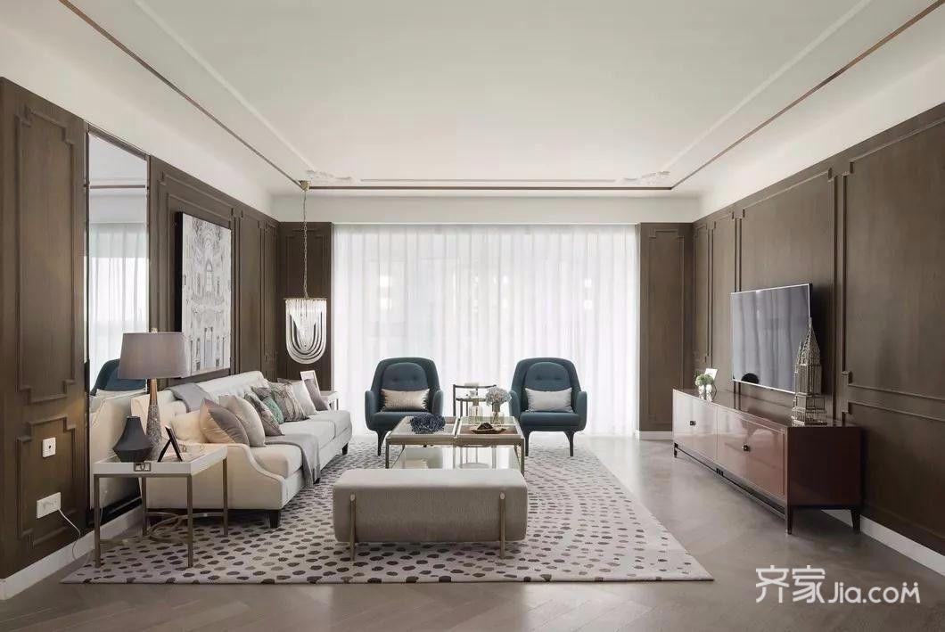 140平混搭风格客厅装修设计效果图