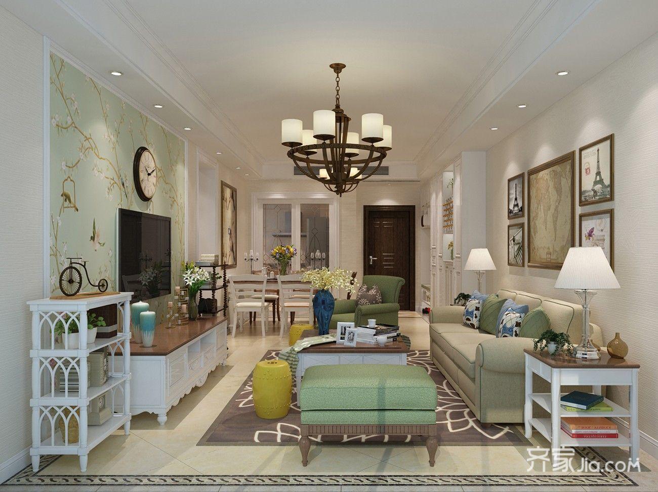 115平美式风格客厅装修设计效果图
