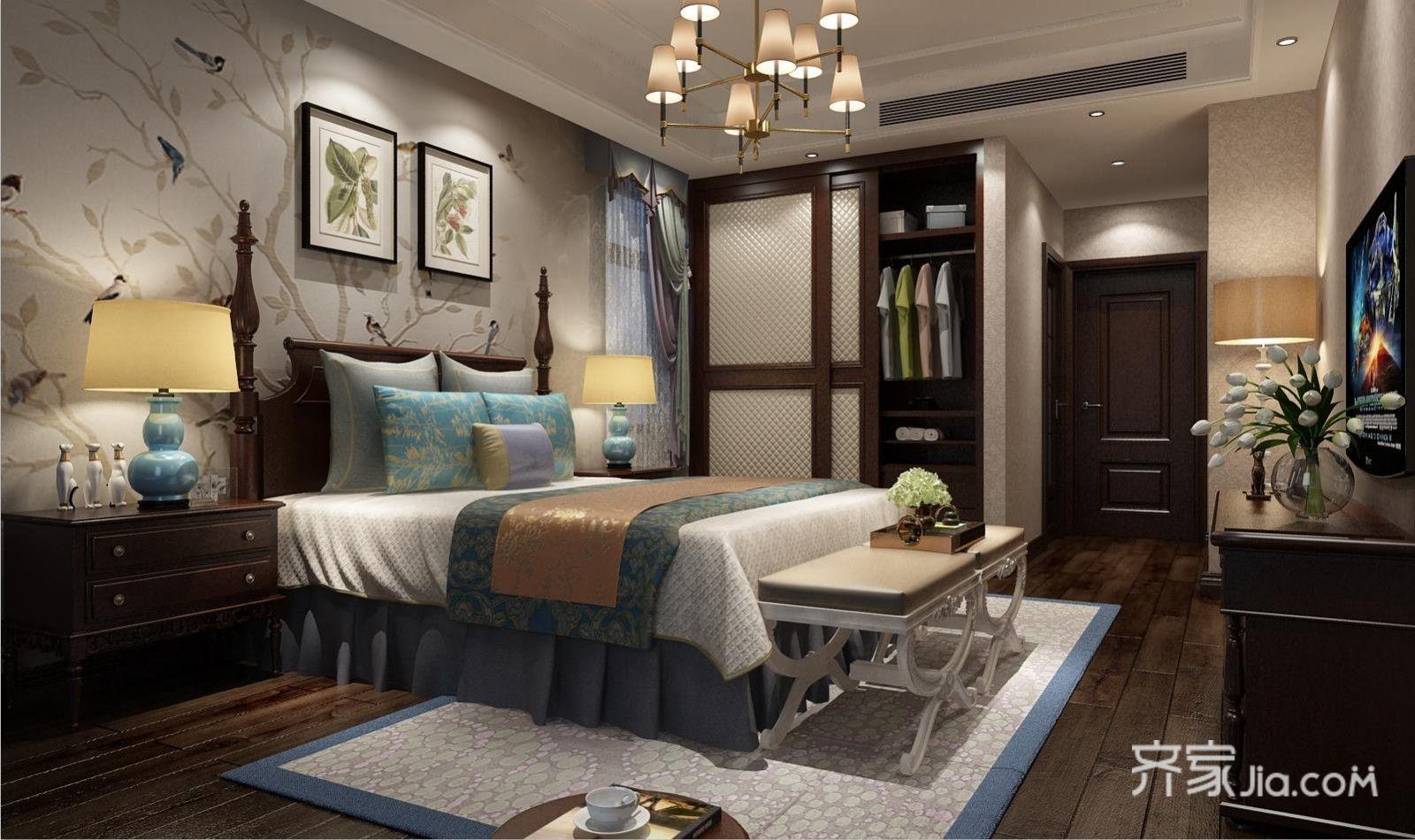 130平米美式风格卧室装修效果图