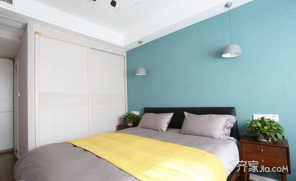 100平现代简约三居卧室背景墙装修效果图