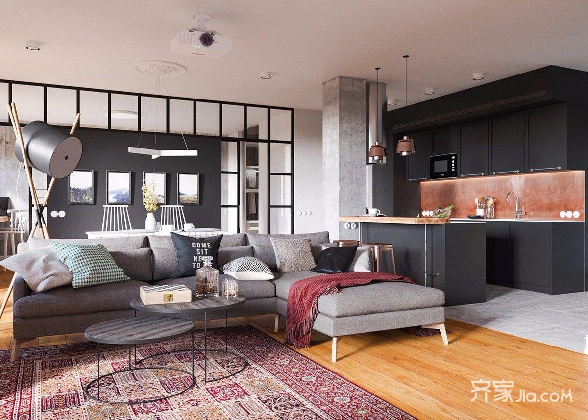 96平北欧宜家风格客厅装修效果图