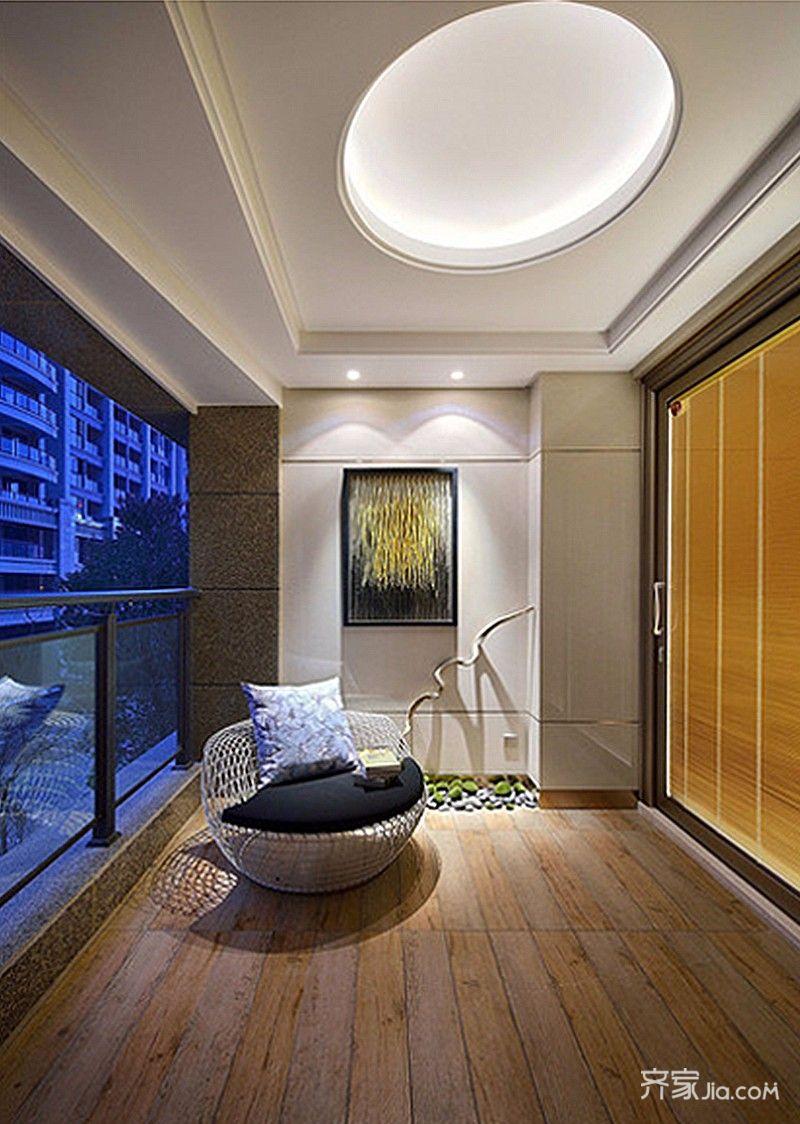 新中式风格二居阳台装修效果图