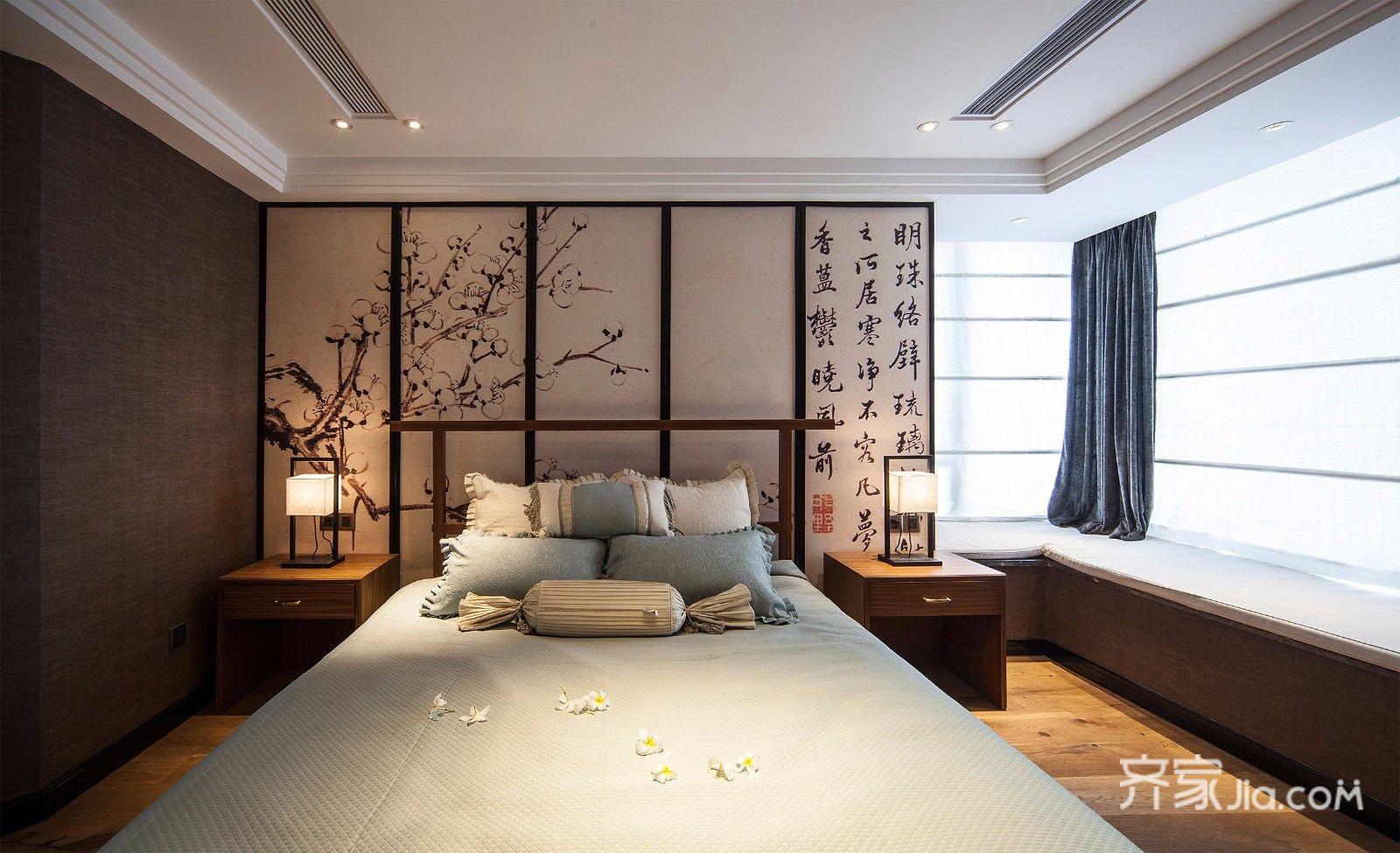 新中式风格别墅装修卧室设计图