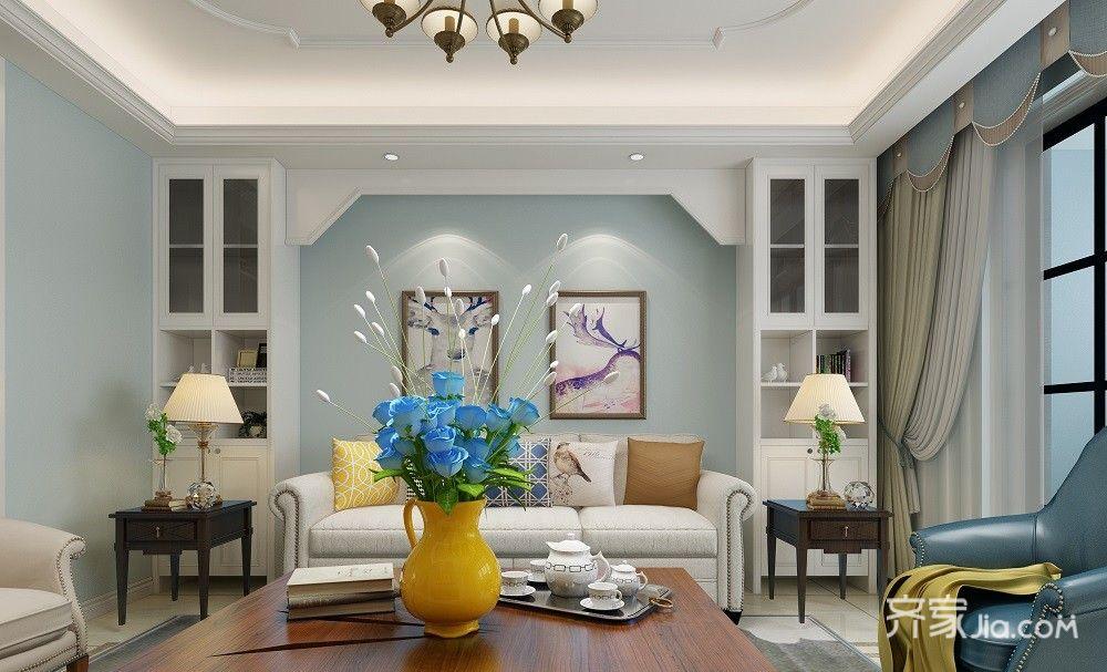 大户型美式风格沙发背景墙装修效果图