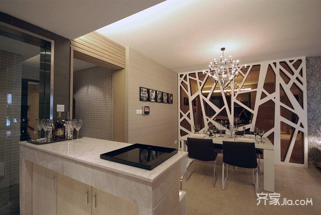 现代风格三居之家餐厅背景墙装修效果图