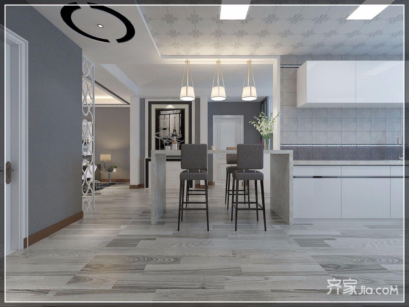 140㎡现代三居室吧台装修效果图