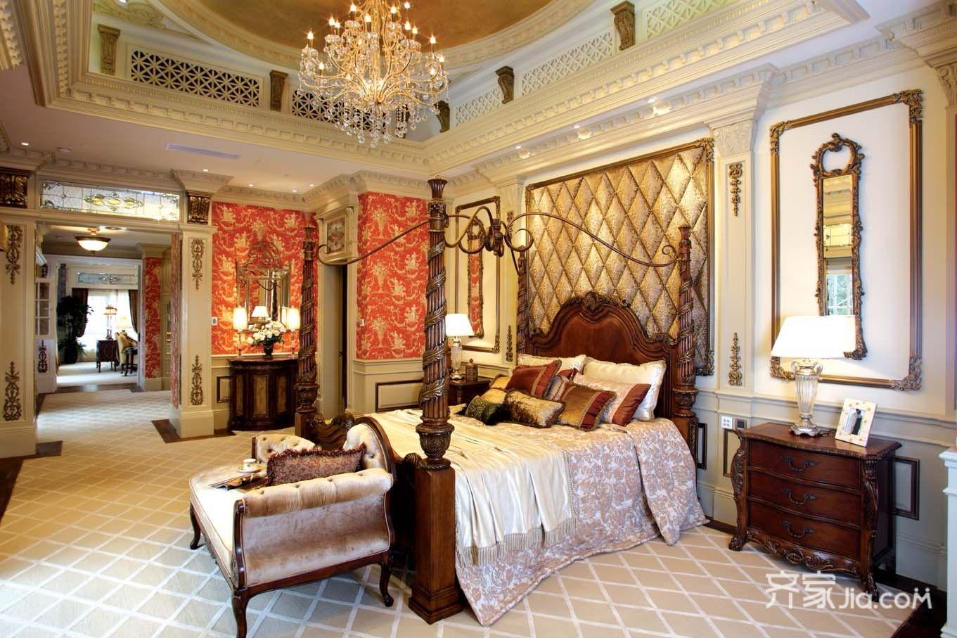 美式豪华别墅装修卧室效果图