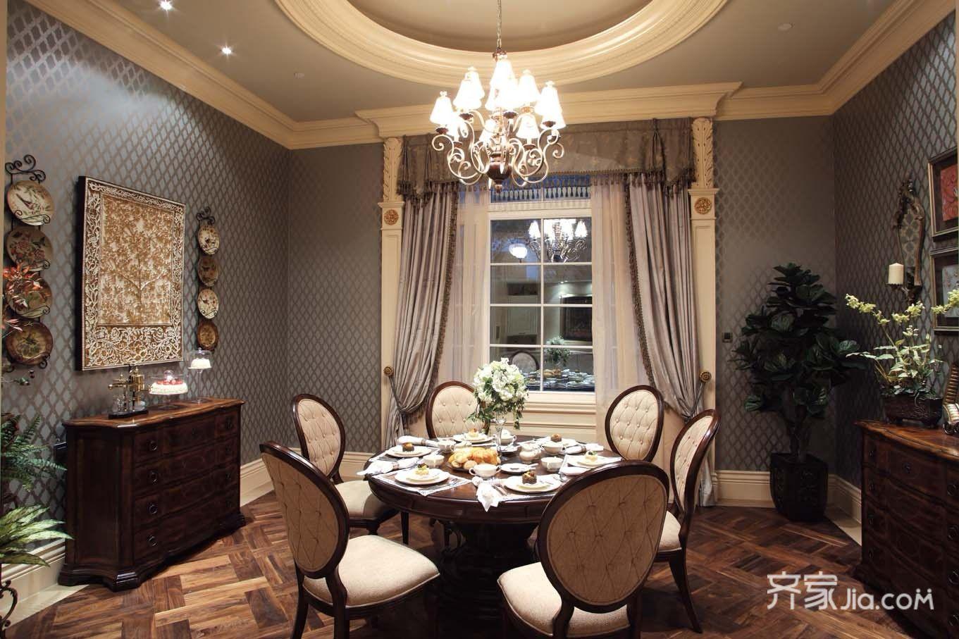 美式豪华别墅装修餐厅设计图